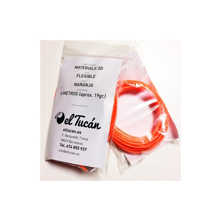 Muestra Materials 3D Flexible Naranja Fluorescente 6m.